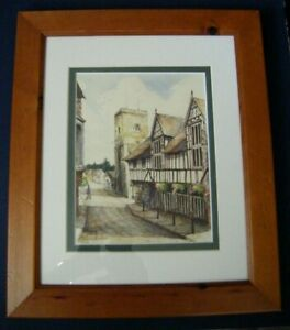 Original-Framed-Ink-Watercolour-Painting-Guildhall-amp-Church-Much-Wenlock