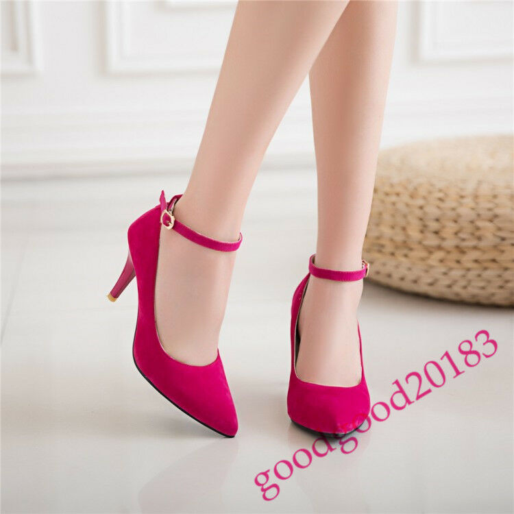 fashion ladies pointed toe ankle strappy suede pumps dating high shoes high dating heel chic 828d40