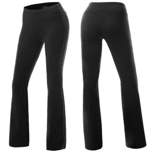 Women High Waist Yoga Pants Wide Leg Casual Flared Slim Sports Leggings Trousers