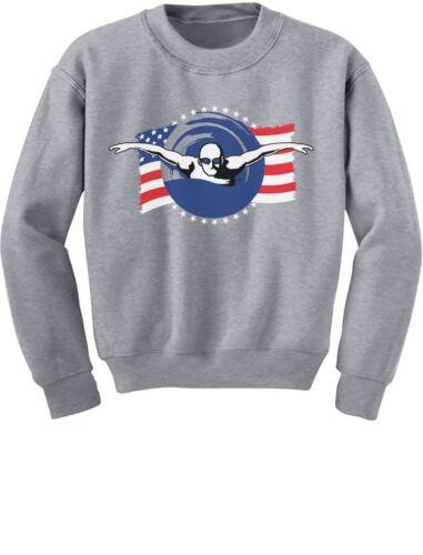 Support USA Swimming Team American Flag Youth Kids Sweatshirt Swimmer