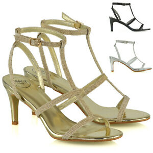 Womens-Strappy-Sandals-Stiletto-Low-Mid-Heel-Ladies-Bridal-Party-Shoes-Size-3-8