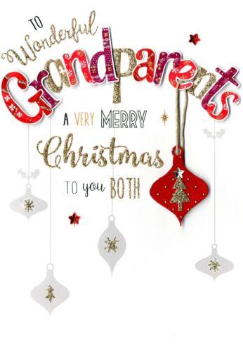 Grands-parents embelli carte de noël fini à la main festive cheer