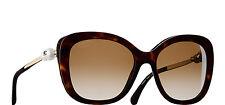 Auth Chanel 5339-H-B c. 714/S9 Dark Tortoise Square Pearl Sunglasses 55*18*140