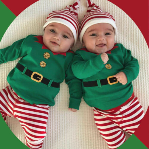 Christmas Newborn Infant Baby Boy Girls Romper Tops Pants Hats Clothes Outfits