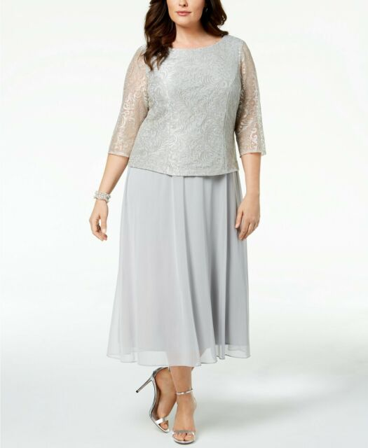 Alex Evenings Women Silver Embroidered Lace Midi Formal Dress Plus ...