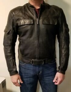 AWESOME-TEKNIC-BLACK-LEATHER-PADDED-MOTORCYCLE-JACKET-MENS-SIZE-46-US-56-EU
