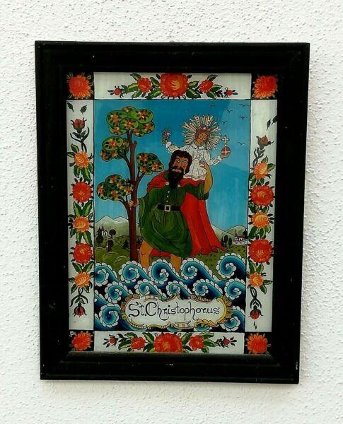 GemäßIgt Hinterglasmalerei,st Christopherus Holzrahmen 24 X 31 Cm SchüTtelfrost Und Schmerzen