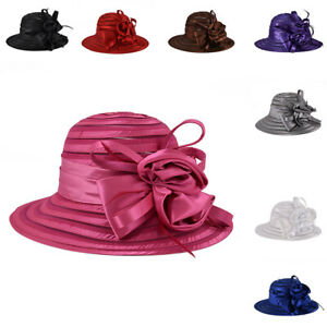 Women-Lady-Kentucky-Derby-Church-Bridal-Wedding-Organza-Hat-Wide-Brim-Dress-Hat