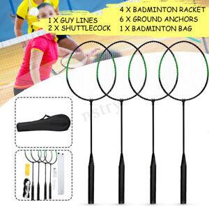 4-Player-Badminton-Racquet-Set-Racket-2-Shuttlecocks-Net-Poles-Bag-AU