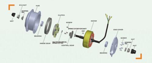 Nylon Seegerringe 8mm Ersatzzahnräder für Bafang 250W-Motoren 36 Zähne