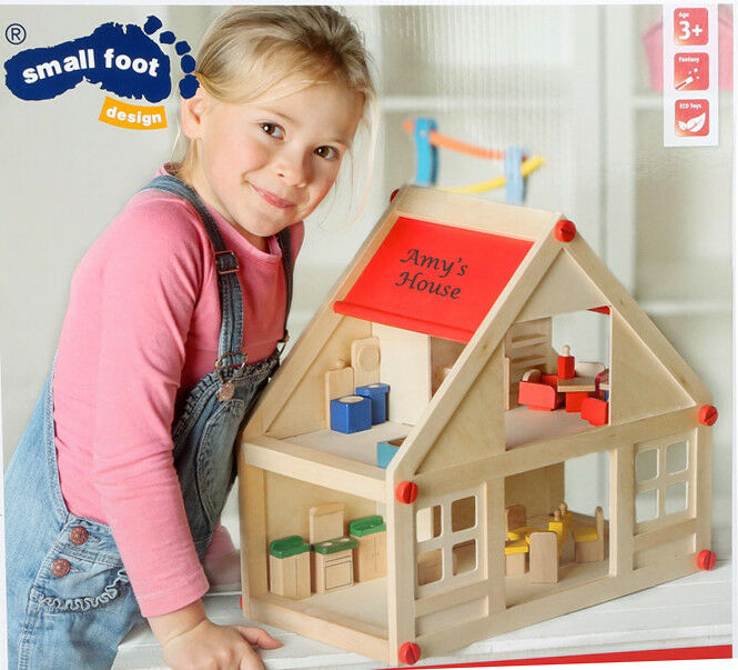 Personalised Engraved Wooden Doll's House with Furniture Included Traditional