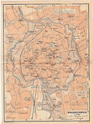 Braunschweig - Stadtplan Aus Baedeker Reiseführer Von 1914 (ca.15 X 20 Cm)