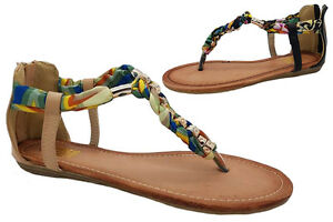 f05be43b12ba1 Ladies Shoe No Shoes Posty Zip Up Beaded Thong Sandals Size 6 ...
