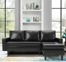 L-Shaped Faux Leather Sofa Set Convertible Living Room Sectional Couch 2 Color