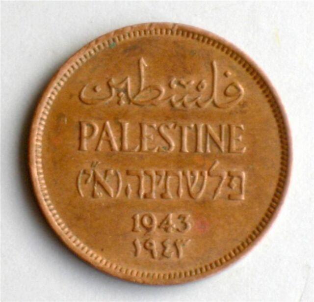 Israel Palestine British Mandate 1 Mil 1943 Coin XF