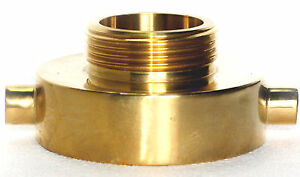"""POLISHED BRASS NST -NH REDUCER 2-1/2"""" x 1-1/2"""" FIRE HOSE or HYDRANT ADAPTER"""