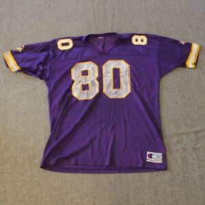 new arrival 22fc9 d3b4f Details about VTG Distressed Champion Jersey Minnesota Vikings 52 ~ 2XL #80  Cris Carter NFL