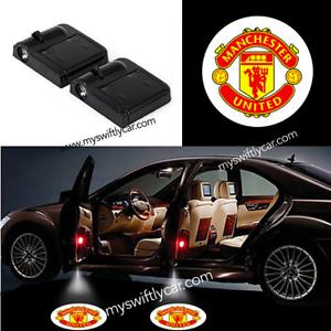 2 Wireless Car Door Lights Manchester United Logo LED