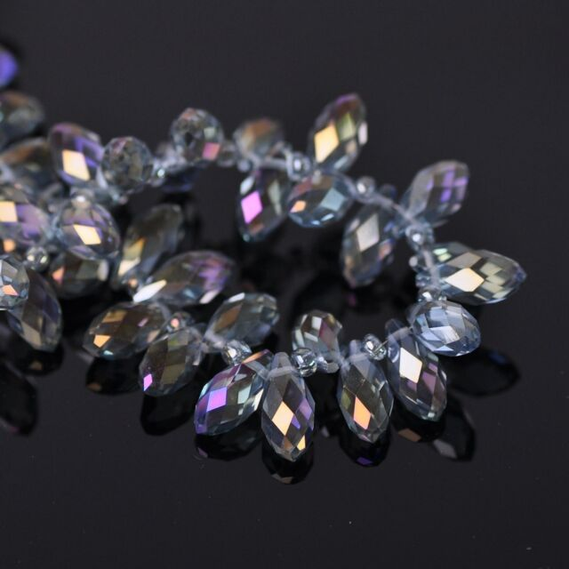 50pcs 12x6mm Teardrop Pendant Faceted Crystal Glass Loose Beads Purple Colorized