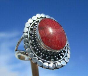 Koralle-Ring-Gr-17-75-Silber-925