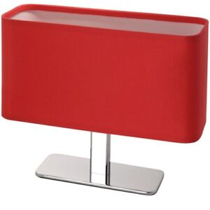 Modern-Fabric-Table-Desk-Lamp-Oval-Chrome-Red-Bedside-Night