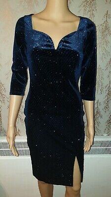 NEW QUIZ RRP £36.99 Glitter Print Velvet Bodycon Dress Navy Party Evening
