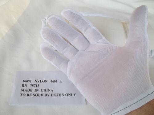 INSPECTION GLOVES WHITE NYLON MEDIUM 24 GLOVES DOZEN PAIRS