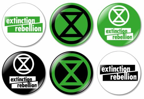 6 x Extinction Rebellion Hand Made 32mm BUTTON PIN BADGES Logo Climate Change