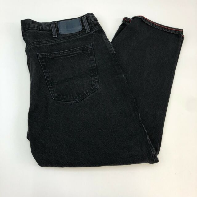 Tommy Hilfiger Jeans Mens Size 40 X 30 Black Straight Denim 100% Cotton