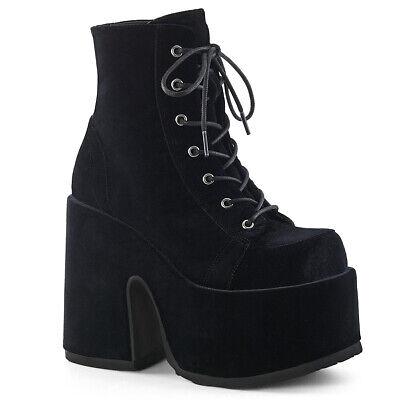 Gothic,Goth Demonia Camel-203 Purple Hologram Platform Heel Boots