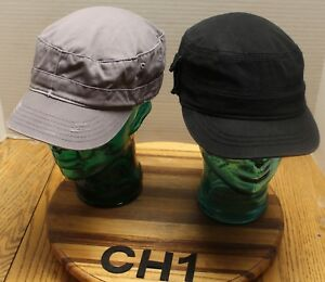2 WOMENS CADET MILITARY STYLE HATS GRAY   BLACK ADJUSTABLE BOTH IN ... f0ded5c2aa8