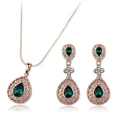 Vintage Teardrop Jewellery Set Gold & Emerald Green Drop Earrings Necklace S599