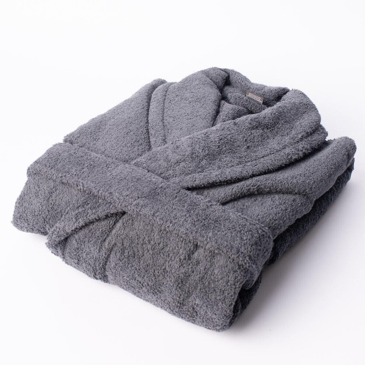 Frottee Bademantel dunkelgrau 100% Baumwolle | Günstige