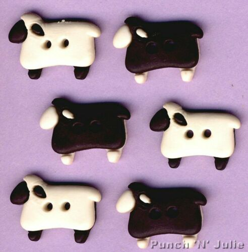 Sew a través de ovejas animales granja Negro de Lana de Cordero Novedad Vestido para arriba Craft Botones