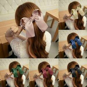 Korean-Style-Women-Girls-Hairpin-Hair-Clip-Ribbon-Large-Bow-Knot-Clip-Barrette