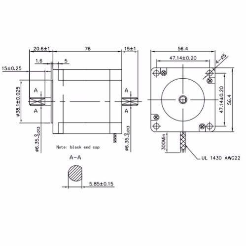 KL23H276-28-4B 2Pcs NEMA23 270oz//in 2.8A 1//4″ Dual Shaft Stepper Motor