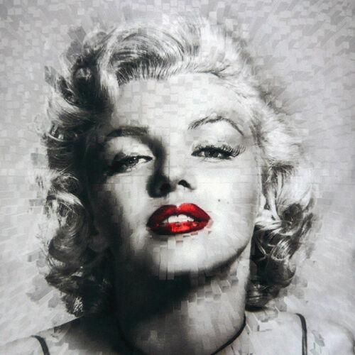 """Marilyn Monroe Noir Gris Filtre Spot Lèvres Rouge Couleur 16/""""x16/"""" 40 cm Housse de coussin"""