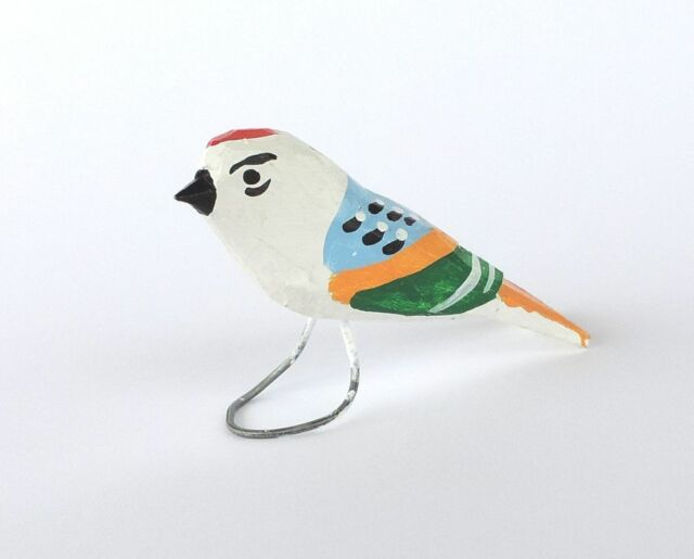 SMALL MULTICOLORED BIRD Traditional hand-carved and painted bird POLISH FOLK ART