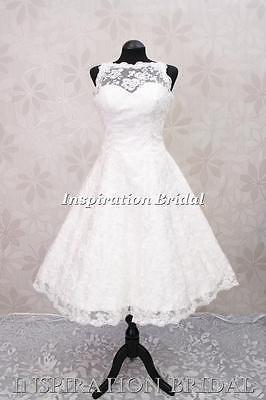 C268 Corto Vestido De Novia Vestido De Novia Encaje Vintage Por Debajo De Rodilla Té Longitud 50s 60s Ebay