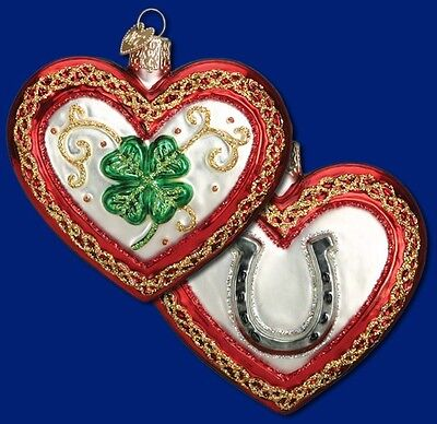 SHAMROCK IRISH HORSESHOE HEART OLD WORLD CHRISTMAS ST PATTY ORNAMENT NWT 30033