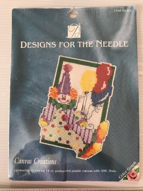 Designs For The Needle Canvas Creation 7706 Clown Light Switch Cover