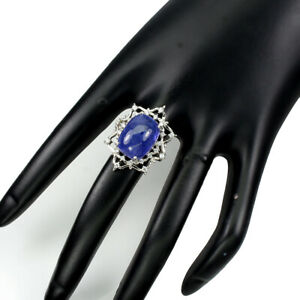 Unheat-Oval-Blue-Tanzanite-16x12mm-Cz-White-Gold-Plate-925-Sterling-Silver-Ring