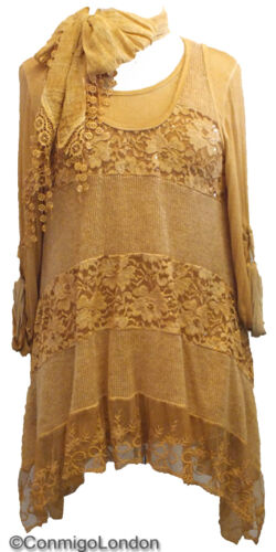Italy In Goitt212mus Gold Tiered amp; Wool Made Dress Lace Scarf B5dwqx4a