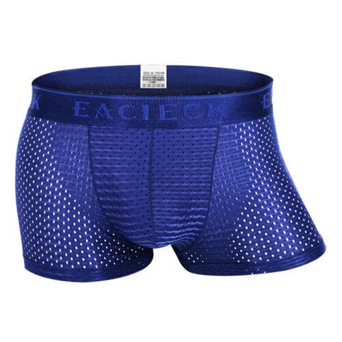 Men Ice Silk Mesh Breathable Underwear Boxer Briefs Shorts Bulge Pouch Underpant