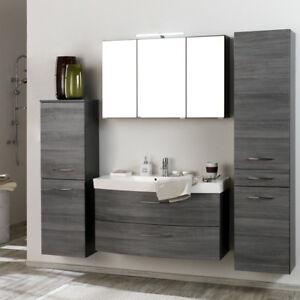 Badmobel Set Eiche Graphit Waschtisch Badezimmermobel Spiegelschank