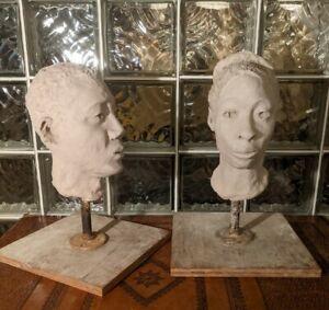 Vintage-PAIR-Incredible-CLAY-BUST-original-works-African-American-studio-pottery