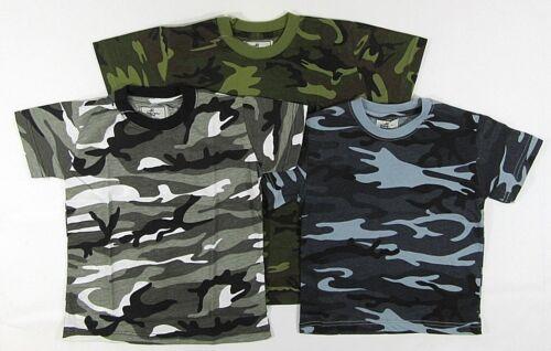 Boys Kids Childrens Army Camo Camouflage Short Sleeve Tshirt Top T Shirts Green