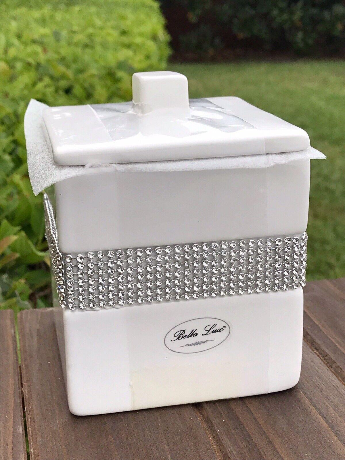 Bella Lux Rhinestone Square Weiß Apothecary Jar Crystal Bathroom Home Decor New