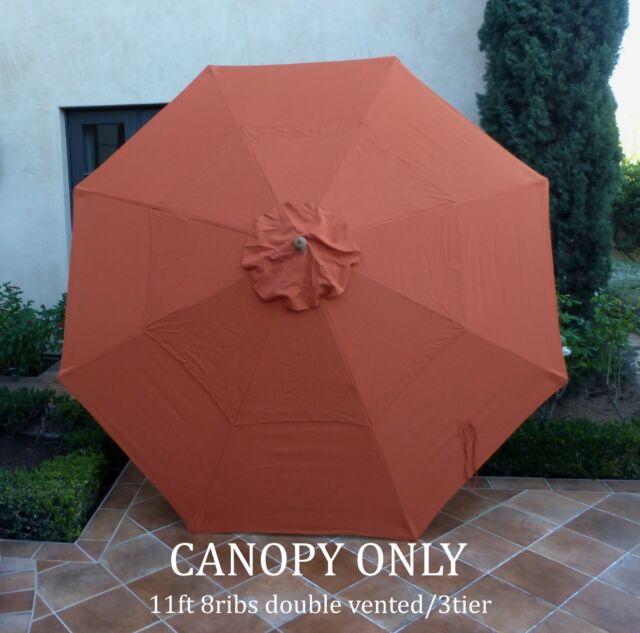 Double Vented Replacement Umbrella Canopy 11ft 8 Rib Terra Cotta