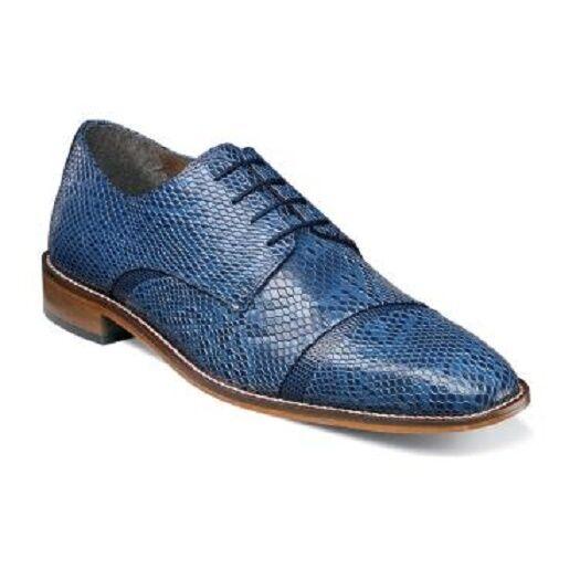 Stacy Adams Uomo Scarpe Rizzo iguana print leather Blue Lace Up Oxford 25086-400